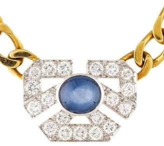 David Webb 6.69ct Star Sapphire & Diamond Collar Necklace yellow 6.69ct Star Sapphire & Diamond Collar Necklace