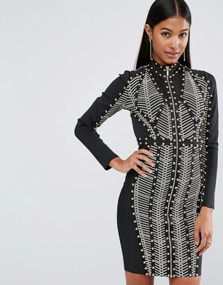 Wow Couture Longsleeved Bandage Dress with Allover Studs
