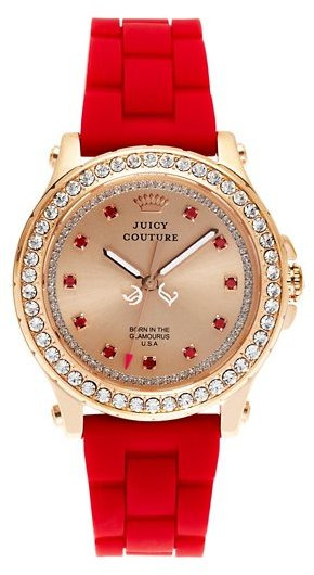 Juicy Couture Pedigree Pink Gold and Red Jelly Watch