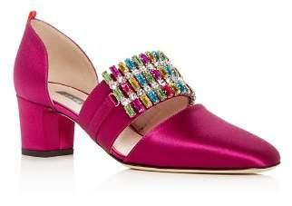 Sarah Jessica Parker Pandora Embellished Satin d'Orsay Block Heel Pumps