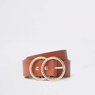 River Island Brown textured double ring buckle jeans belt
