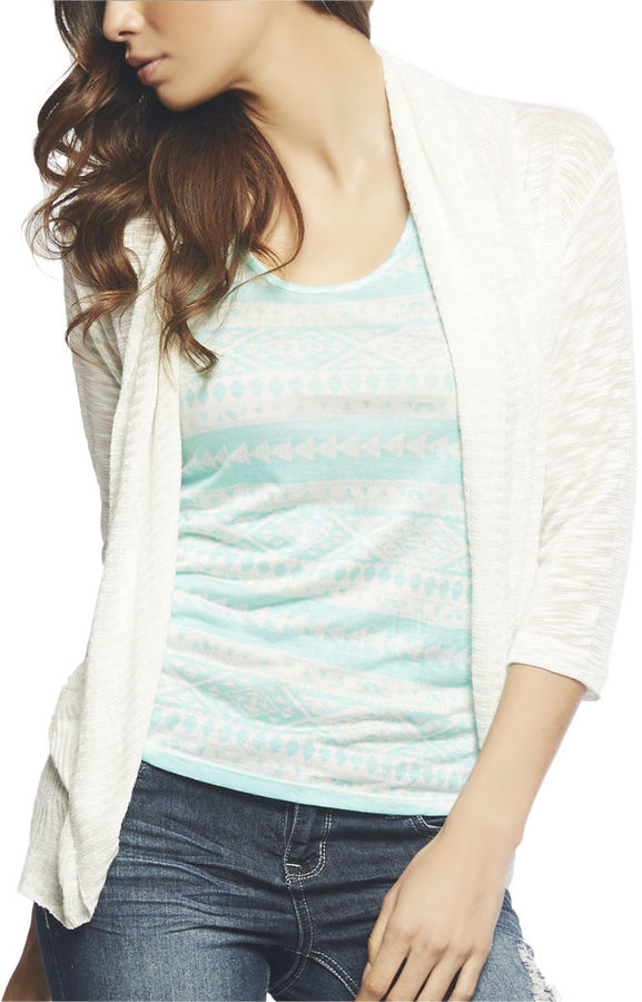 Wet Seal 3/4 Slub Open Cardi