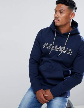 Pull&Bear Hoodie In Navy With Logo