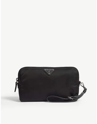 Prada Logo nylon cosmetic pouch