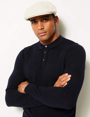 Marks and Spencer Linen Rich Textured Flat Cap