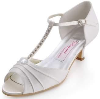 Elegantpark EL-035 Women Satin T-Strap Peep Toe Sandals Mid Heel Ruched Rhinestones Evening Prom Shoes US 11