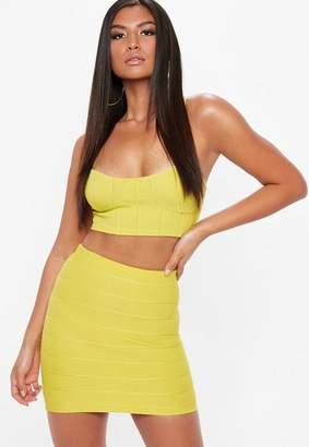 Missguided Yellow Bandage Basic Mini Skirt