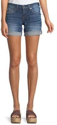 True Religion Jayde Mid-Rise Rolled-Hem Denim Shorts with Flap Pockets