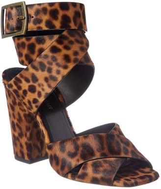 Saint Laurent Oak 75 Ankle Wrap Haircalf Sandal