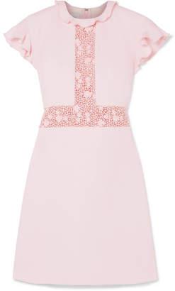 Giambattista Valli Ruffled Lace-paneled Crepe Mini Dress
