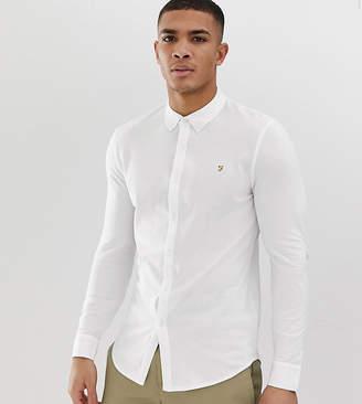 Farah Kompis slim fit pique jersey shirt in white