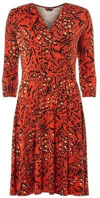 Dorothy Perkins Womens Orange Leopard Print Wrap Dress