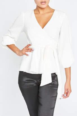 Luxxel White Wrapped Blouse