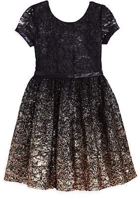 Us Angels Girls' Ombré Glitter Lace Dress - Little Kid