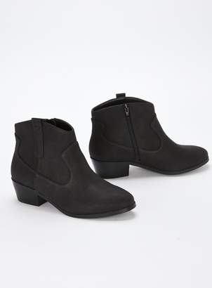 6e6ec96aebc Evans EXTRA WIDE FIT Black Western Ankle Boots