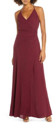 WAYF The Allison Faux Wrap Chiffon Gown