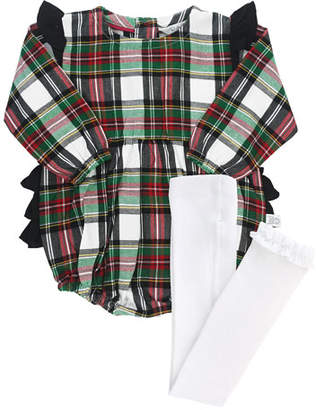 RuffleButts Girl's Plaid Ruffle Romper w/ Knit Tights, Size 0-24 Months