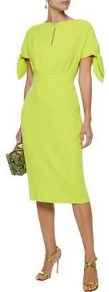 Lela Rose Knotted Wool-blend Crepe Dress