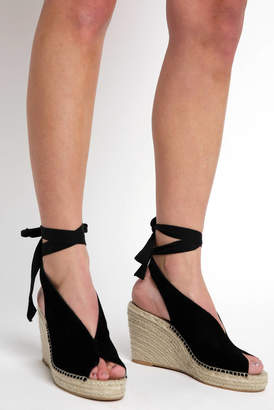 Seychelles Black Espadrille Ankle Tie Wedge
