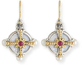 Konstantino Hestia Pearl & Ruby Drop Earrings