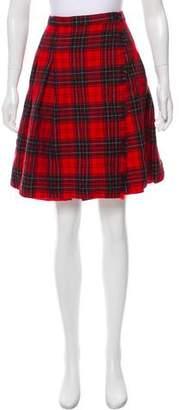 Halston Wool Plaid Knee-Length Skirt