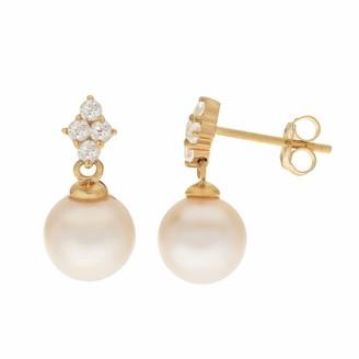 Pearlustre By Imperial PearLustre by Imperial 14k Gold Freshwater Cultured Pearl & White Topaz Drop Earrings