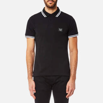 Versace Men's Small Patch Logo Tipped Polo Shirt