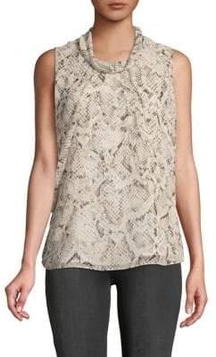 Calvin Klein Sleeveless Snakeskin-Embossed Top