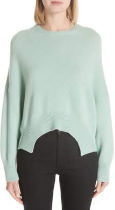 Valentino Curve Hem Crop Cashmere Sweater