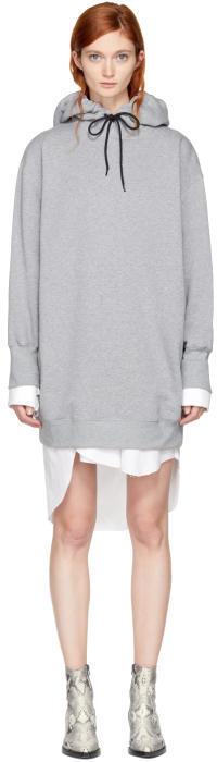 MSGM Grey Bejewelled Logo Hoodie Dress