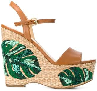 MICHAEL Michael Kors Fisher palm embroidered wedges