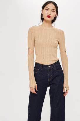 Topshop Cut Out Rib Knitted Top by Boutique