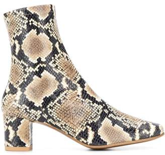 BY FAR snakeskin print boots