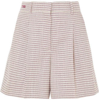Fendi Pleated Checked Wool-blend Shorts - Pink