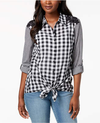 Style&Co. Style & Co Mixed-Gingham Tie-Front Shirt, Created for Macy's