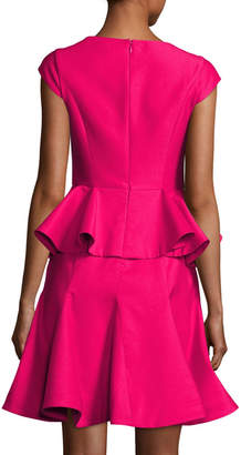 Halston Cap-Sleeve Structured Tiered Flounce Cocktail Dress