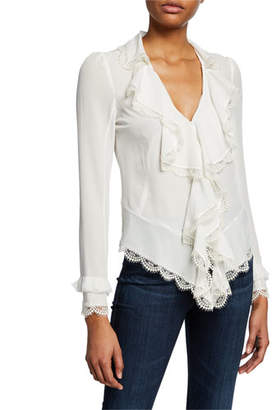 8842be1e7a856 Alexis Phineas V-Neck Long-Sleeve Silk Ruffle Blouse with Lace
