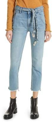 Free People Tie Belt High Waist Slim Straight Leg Jeans