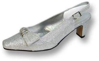 Floral FLORAL Emma Women's Wide Width Evening Dress Shoes for Wedding, Prom, & Dinner SILVER 10