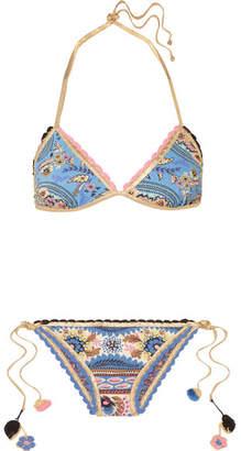 14cae8b87329a ... Anjuna - Diana Reversible Crochet-trimmed Printed Triangle Bikini - Blue