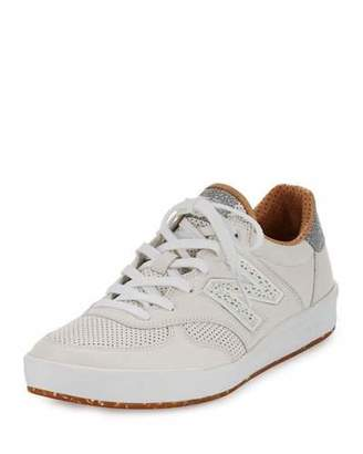New Balance Men's CRT300v1 Leather Trainer Sneakers, White/Tan