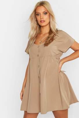 boohoo Plus Woven Button Through Smock Dress