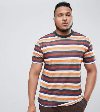 Asos DESIGN Plus relaxed t-shirt with retro stripe in linen look fabric