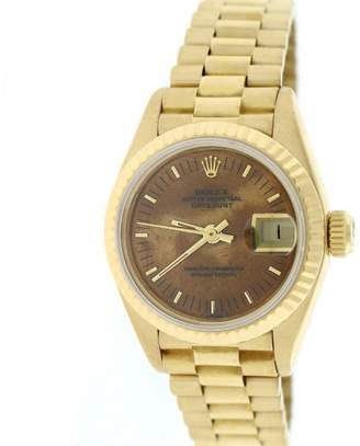 Rolex Datejust 69178 18K Yellow Gold & Wooden Dial 26mm Womens Watch