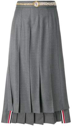 Thom Browne Below Knee Dropped Back Pleated Skirt With Belt Applique In Super 120's Twill