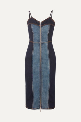 Current/Elliott The Jacqueline Two-tone Stretch-denim Dress - Mid denim