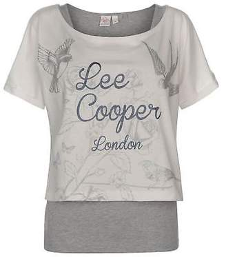 Lee Cooper Womens Double Layer T Shirt Set Crew Neck Tee Top Round Lightweight