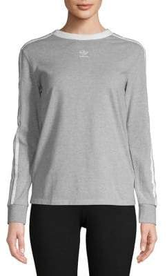 adidas Three-Stripe Heathered Sweater