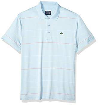 Lacoste Men's Sport Short Sleeve SEMI Fancy Ultra Dry Stretch Striped Polo