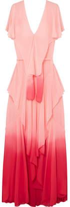 Ruffled Ombré Silk-chiffon Maxi Dress - Pastel pink